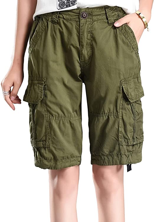 MUST WAY Womens Cotton Casual Loose Fit Twill Bermuda Cargo Shorts with Multi Pockets