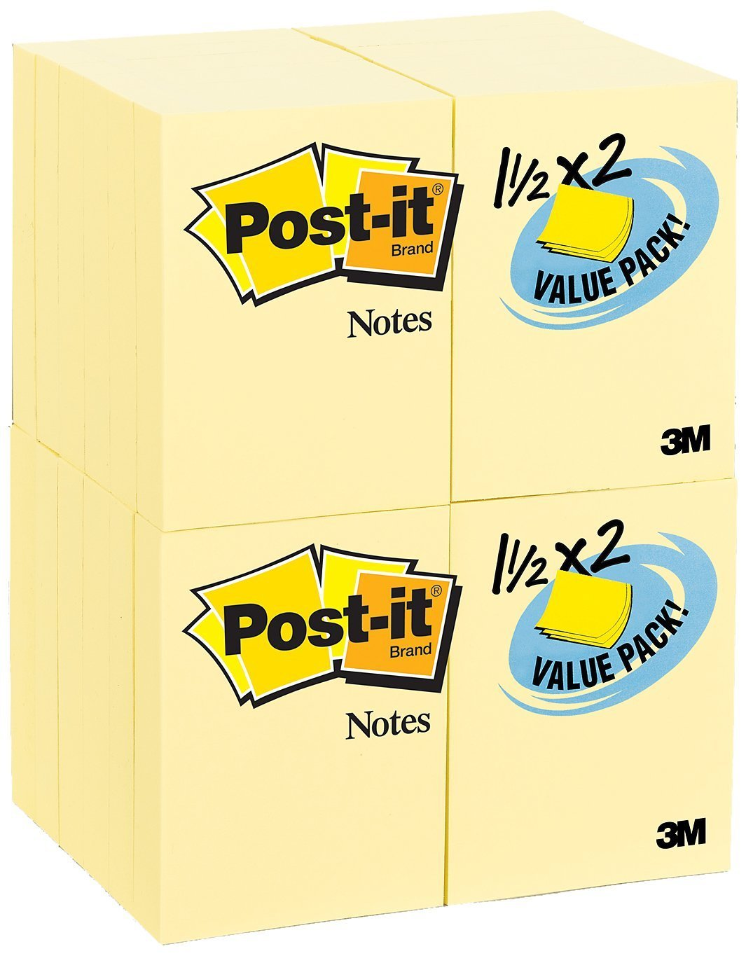 Post-it Notes Value Pack, 1-1/2 x 2-Inches, Canary Yellow, 24-Pads/Pack, 6-PACK