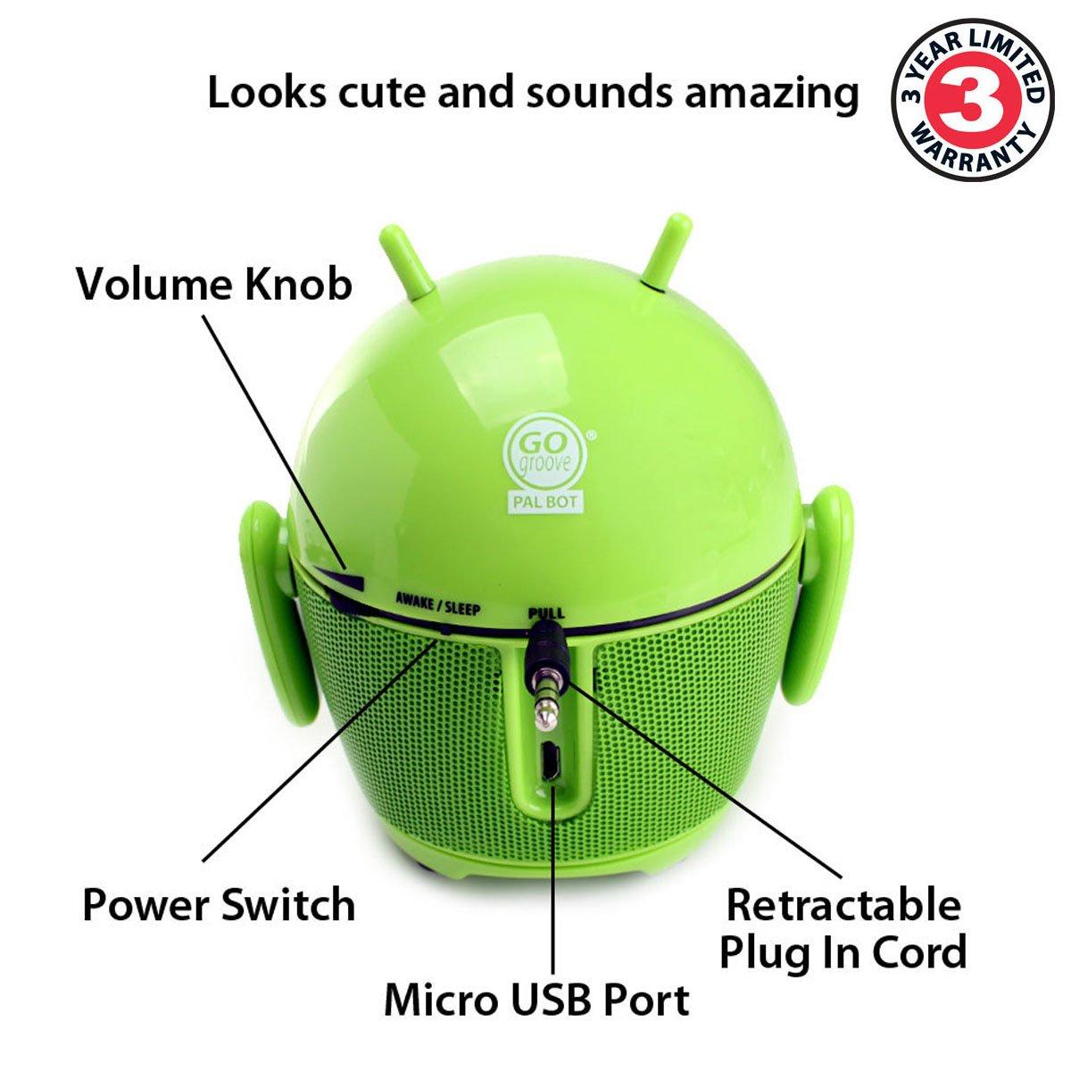 GOgroove PALBOT Mini Lautsprecher / Nachtlicht für Kinder, für Smartphones von Apple & Android, PC's, Laptops & Tablets, Grün by GOgroove