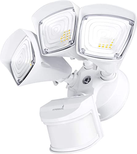 Hyperikon Outdoor Security Light, 37.5W LED Flood Light Fixture Wide Range Motion Sensor, IP65 Waterproof, 3 Head, White