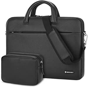 BRINCH Laptop Shoulder Bag 15.6 Inch Water Resistant Laptop Case Portable Leather Messenger Bag Protective Sleeve Cover for Laptop, Tablet, MacBook, Business/College/Women/Men,Black