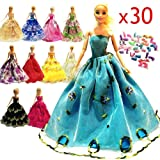 zhihu 10 Pcs Barbie Handmade Fashion Wedding Party Gown Dresses & Clothes gifts for Barbie+20 Pair Shoes for Barbie Doll( Random Style)