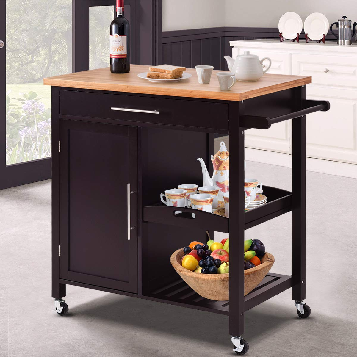 Giantex Kitchen Trolley Cart Wood Rolling Island Cart Home Restaurant Kitchen Dining Room Serving Utility Cart w/Bamboo Top Storage Cabinet Bigger Drawer Removable Tray Shelf, Brown by Giantex (Image #3)