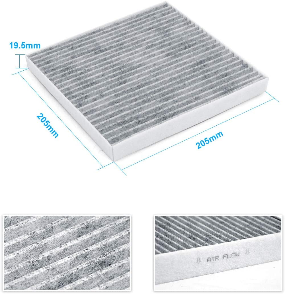 87139YZZ09 88970273 KAFEEK Cabin Air Filter Fits CF10374 2-Pack Replacement for Toyota//Dodge//Pontiac includes Activated Carbon 68164981AA