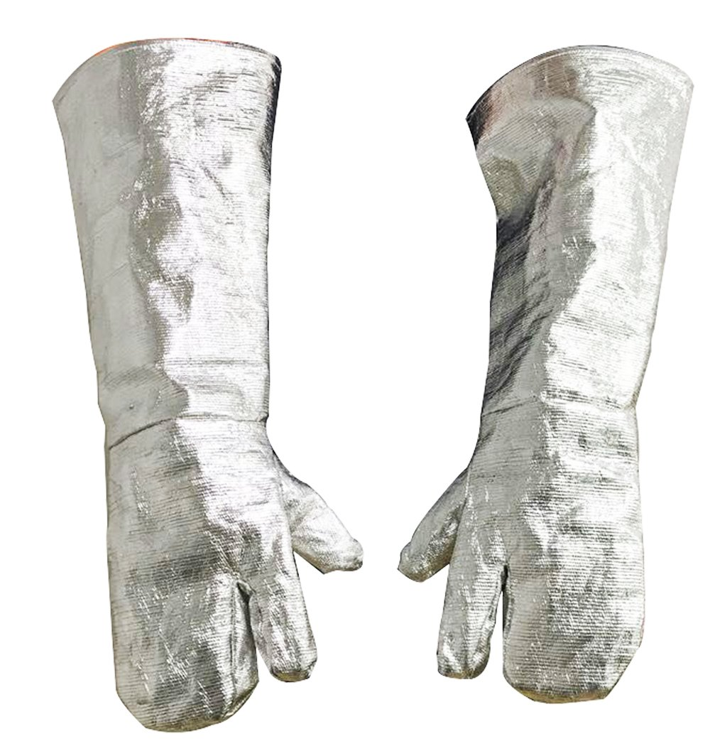 High Temperature Safety Work Flame Resistant Long Gloves Aluminized Fire Work Smelting Welding Gloves 1000℃