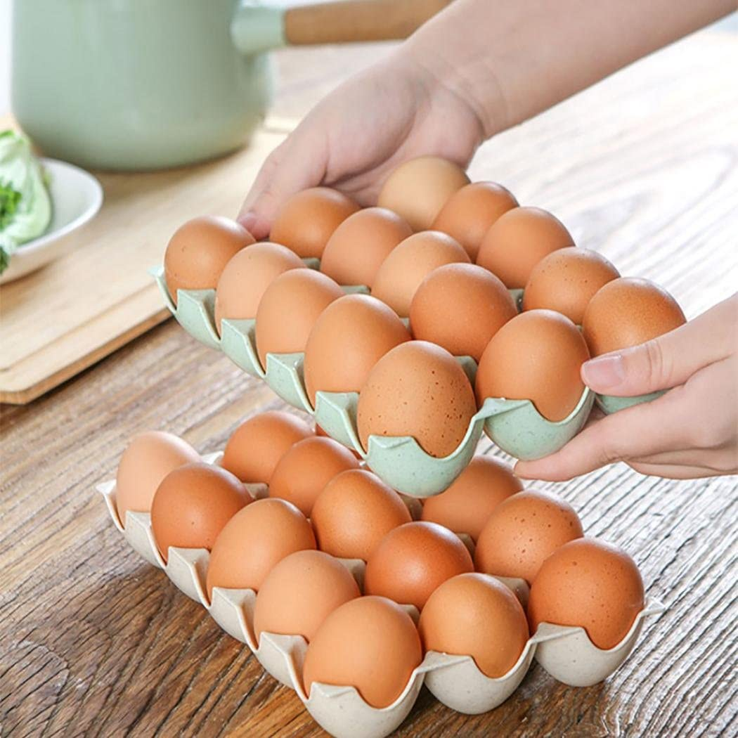 Beige Vacally 15Pcs Egg Holder Box Refrigerator Storage Tray Eggs Shatter-proof Case for Home Restaurant