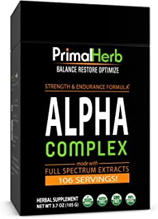 product image for Alpha Complex - by Primal Herb | Strength, Stamina, Energy Support | Tongkat Ali 200:1 Plus 7 Organic Herbal Extract Powders - 106 Servings | Includes Bamboo Spoon