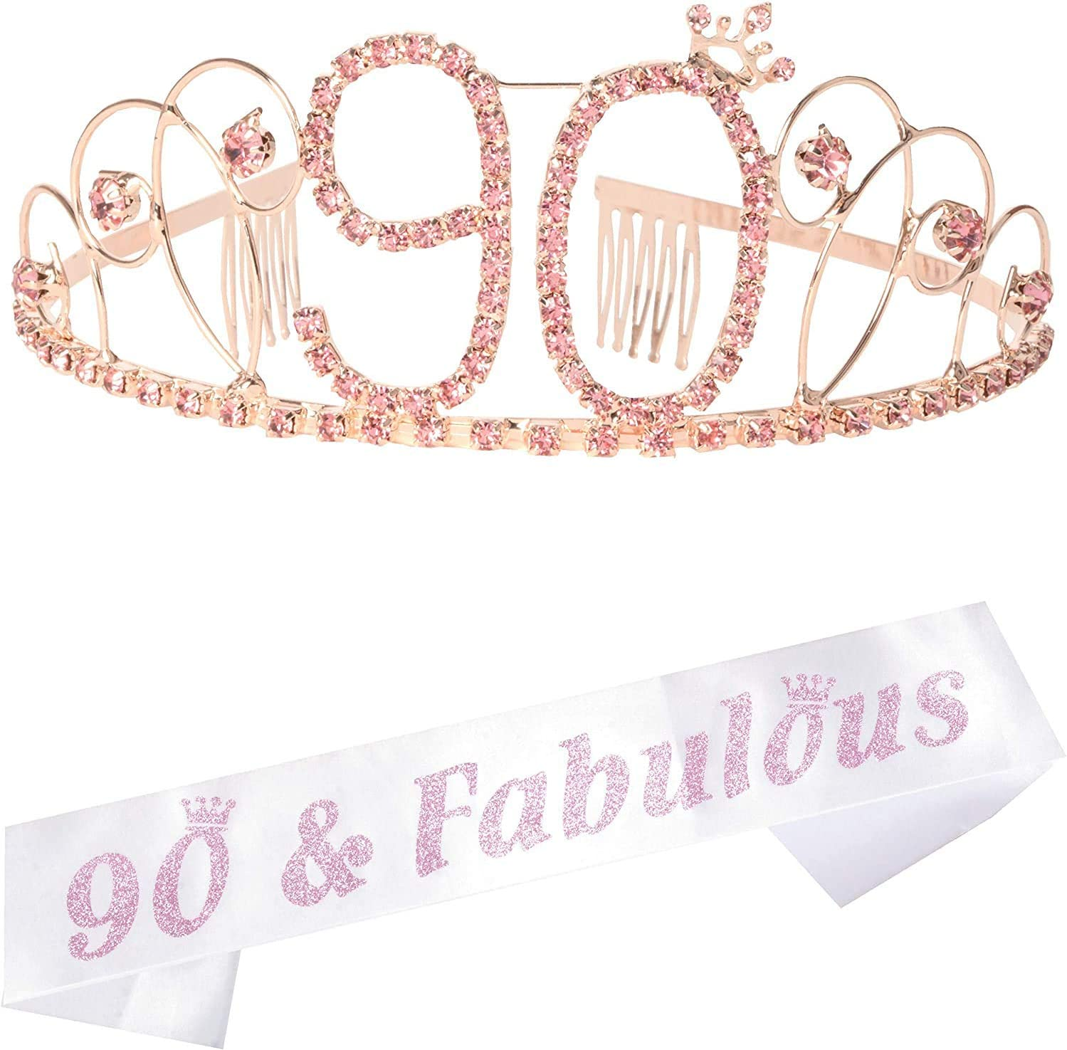90th Brithday Gold Tiara and Sash 90 /& Fabulous Glitter Satin Sash and Crystal Rhinestone Birthday Crown for Happy 90th Birthday Party Supplies Favors Decorations 90th Birthday Cake Topper