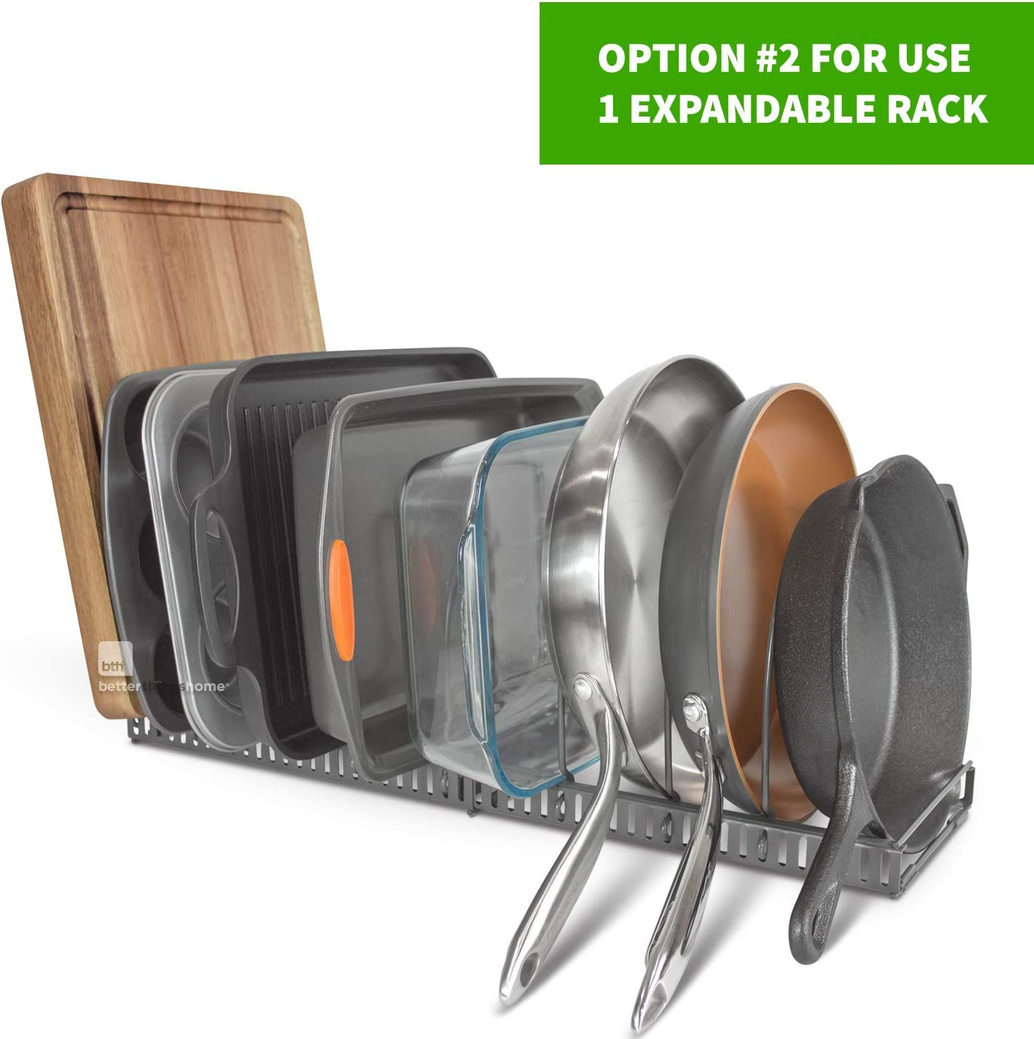 Pantry Cupboard Bakeware Lid Plate Holder Total 7 Adjustable Compartments betterthingshome 7+ Pans Expandable Pan Organizer Rack: Can Be Extended to 56.5 cm 7+ Pan Organizer