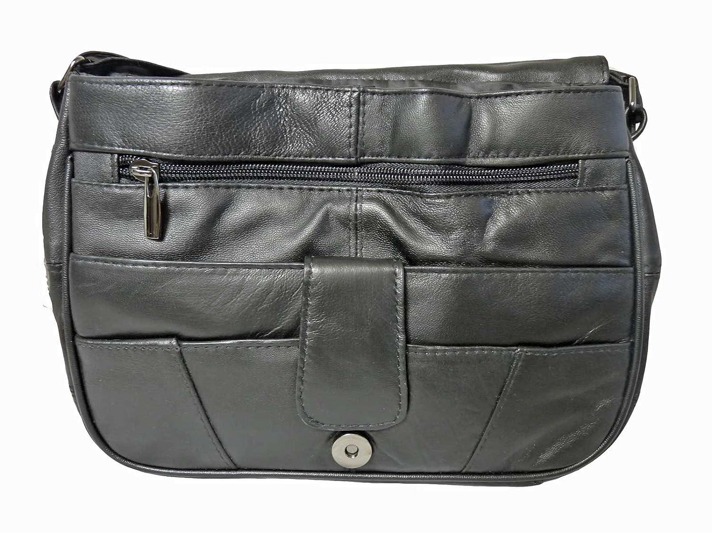 Triple Section Cross Body Shoulder Handbag - Ladies Black Soft Leather Bag  - 8 Pockets - larger image a2f4a0533f