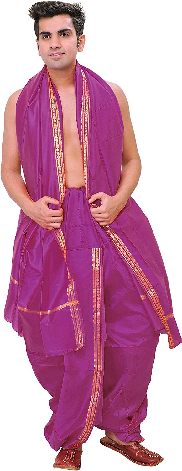Exotic India Max Discount mail order 59% OFF Ready to Wear Dhoti and Set with Woven Angavastram