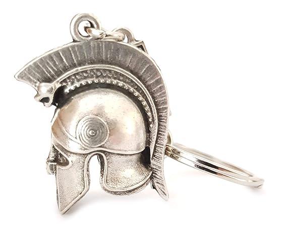 IconsGr Llavero Antiguo de Soldado Espartano Casco de Batalla Baring a Serpiente Llavero 2