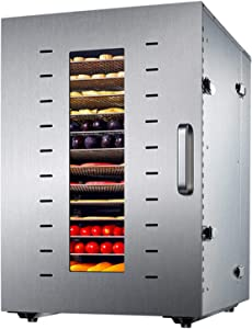 16 Layer Stainless Steel Commercial Food Dryer, Household Seafood Medicinal Soy Bean Food Air Dryer, 96L Large Capacity Vegetable Fruit Pet Food Dehydrator