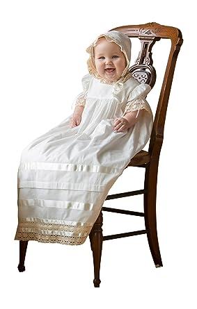 74c72b43b6239 Strasburg Children Babies Lace Christening Gown With Bonnet Baptism Dresses