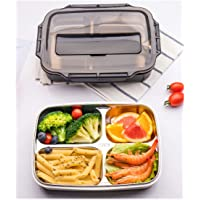 Bento Lunch Box Stainless Steel, 4- Sealed Compartment Leakproof Stainless Steel Lunch Container For Kids Or Adults, Black