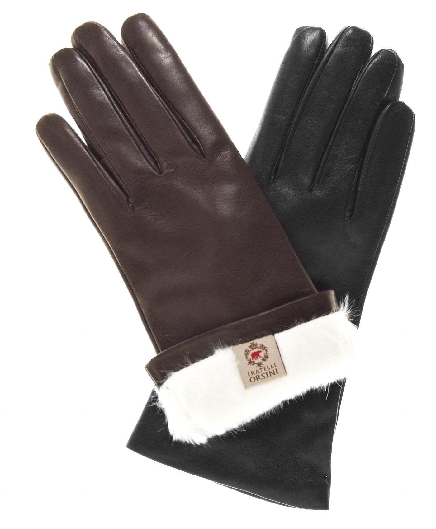 Fratelli Orsini Women's Italian Rabbit Fur Gloves Size 6 1/2 Color Black