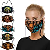 Basysin Halloween Funny Printed Adults Reusable Breathable Washable Adjustable Earloop Cloth Face_Mask (1/3/5PC)