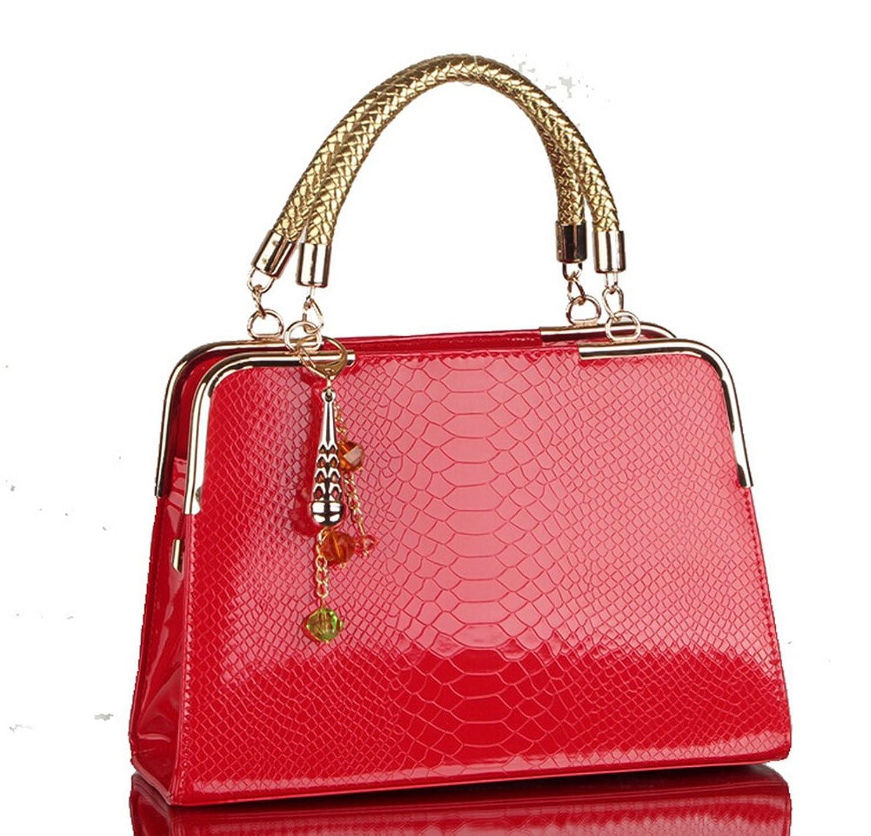 Pahajim Patent Leather Crocodile Pattern Shoulder Portable Handbag ,Red
