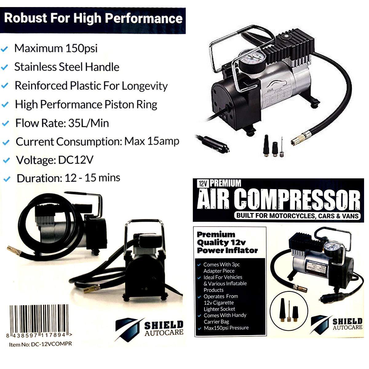Shield Autocare DC-12V-COMPRDC - Compresor de aire de alta resistencia: Amazon.es: Coche y moto