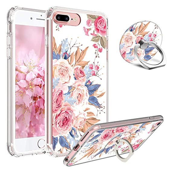 online store f991c 0baf8 iPhone 7 Case,iPhone 8 Case and Ring Stand Holder Floral for Girl Women  Clear Design[Shock-Absorption] Soft Silicone TPU Bumper with Rotating Ring  ...