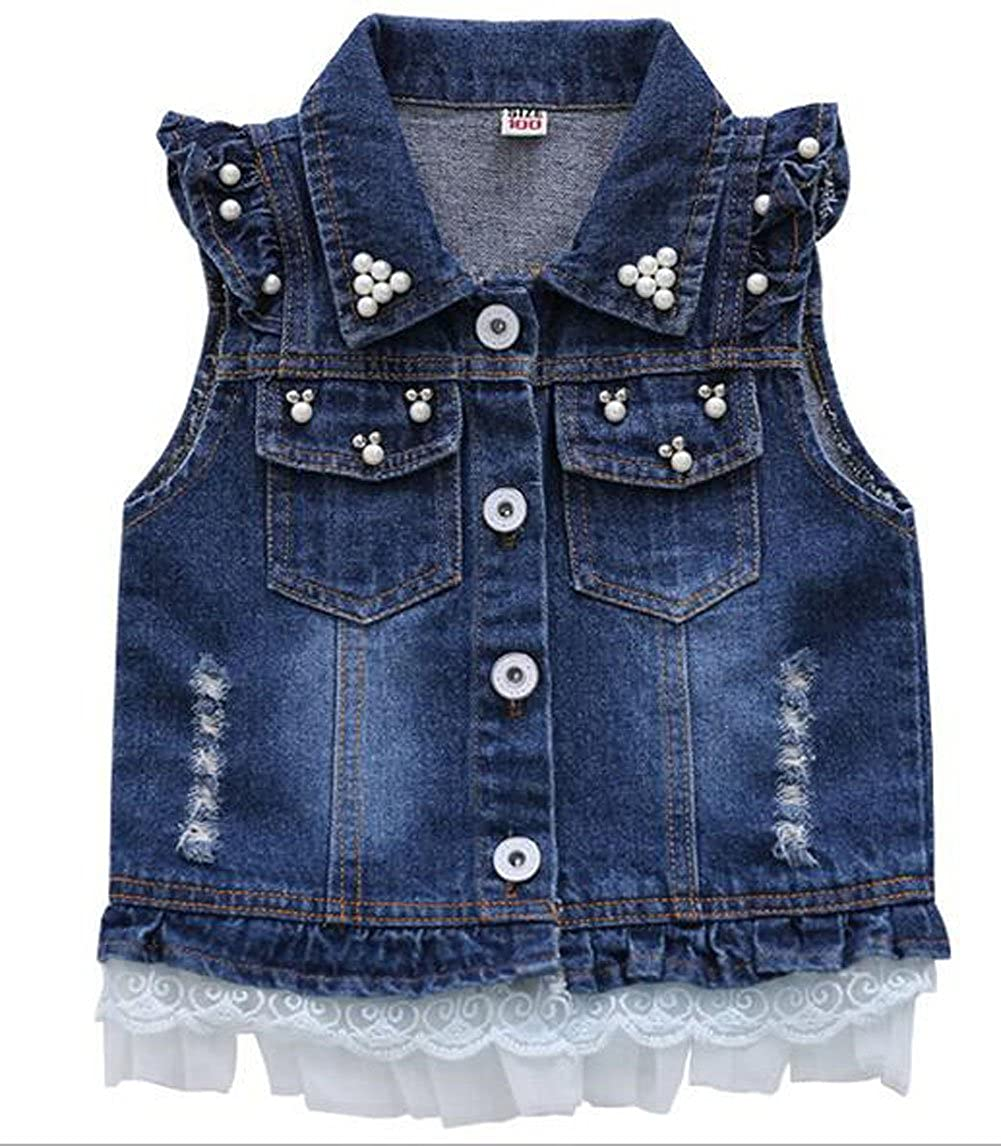 HomeToy Children Baby Pearl Girls Denim Vest Sleeveless Princess Waistcoat