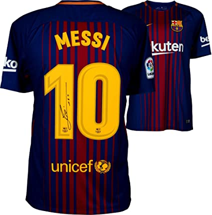 579b8e78aaa Lionel Messi Barcelona Autographed 2017-2018 Home Jersey - Fanatics  Authentic Certified - Autographed Soccer Jerseys at Amazon s Sports  Collectibles Store