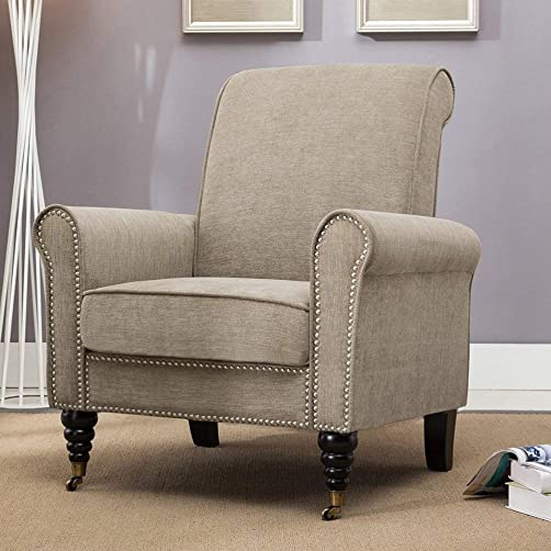 Aklaus Modern Accent Chair Button Tufted Fabric Sofa for Living Room Bedroom Legs Whith Wheels