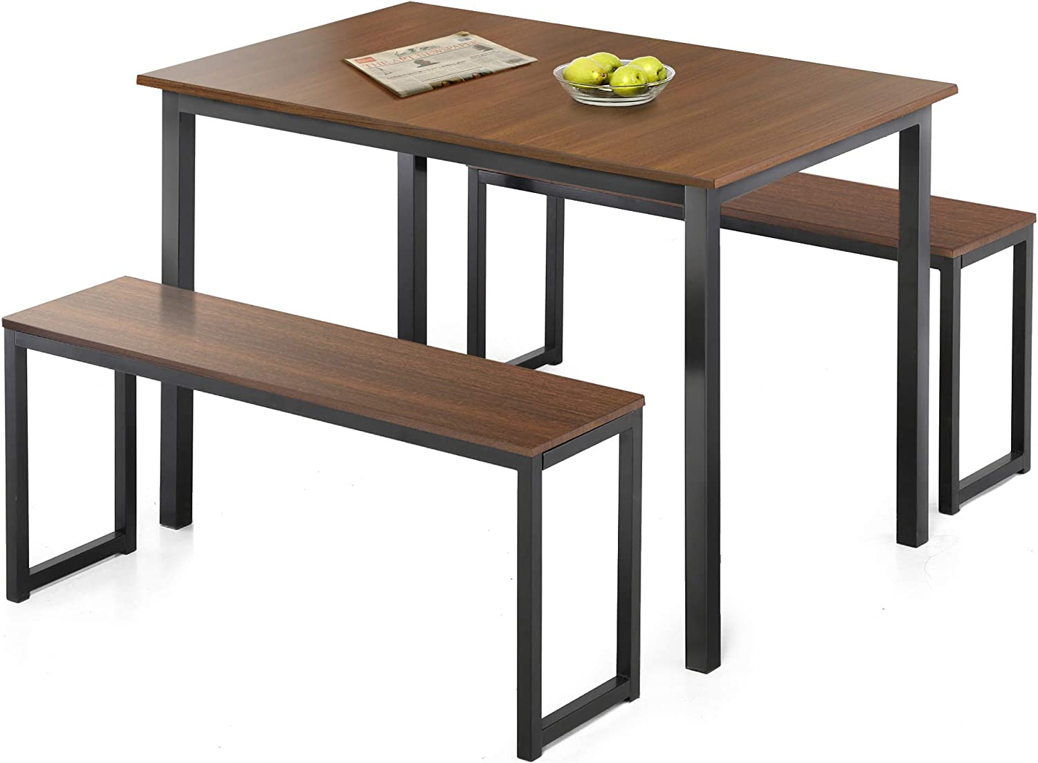 Furniture Gheda 3 Pieces Dining Table Set Modern Kitchen Table Set With 2 Benches Wood Table Top And Metal Frame For Home Apartment Breakfast Nook Small Space Space Saving Design Dining Room Furniture Black Home Kitchen Smkbinaputracihampelas Sch Id