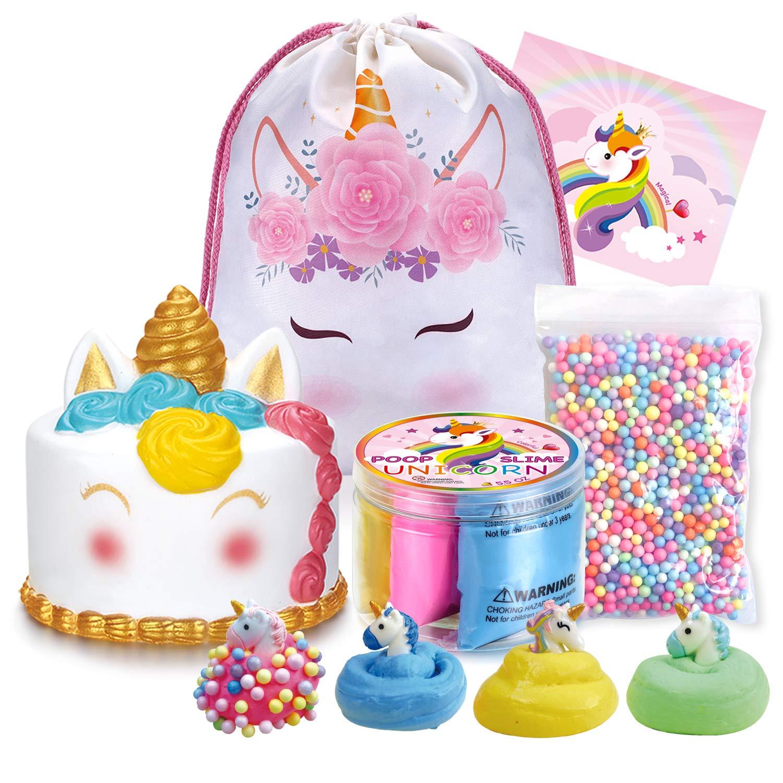LittleBoo Unicorn Gift Set - Unicorn Squishy, Unicorn Slime, Unicorn Drawstring Backpack, Unicorn Card - Unicorn Gifts for Girls (Cream Cake Unicorn Squishy) by LittleBoo