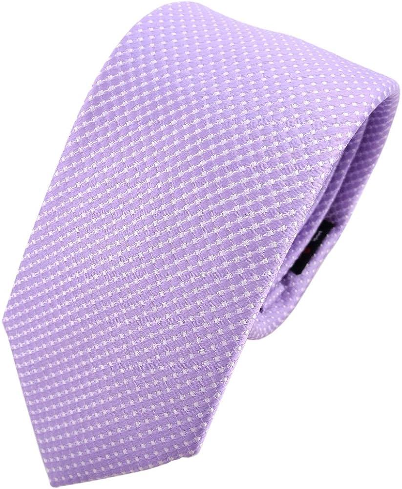 TigerTie - corbata de seda estrecha - morado lila plata lunares ...