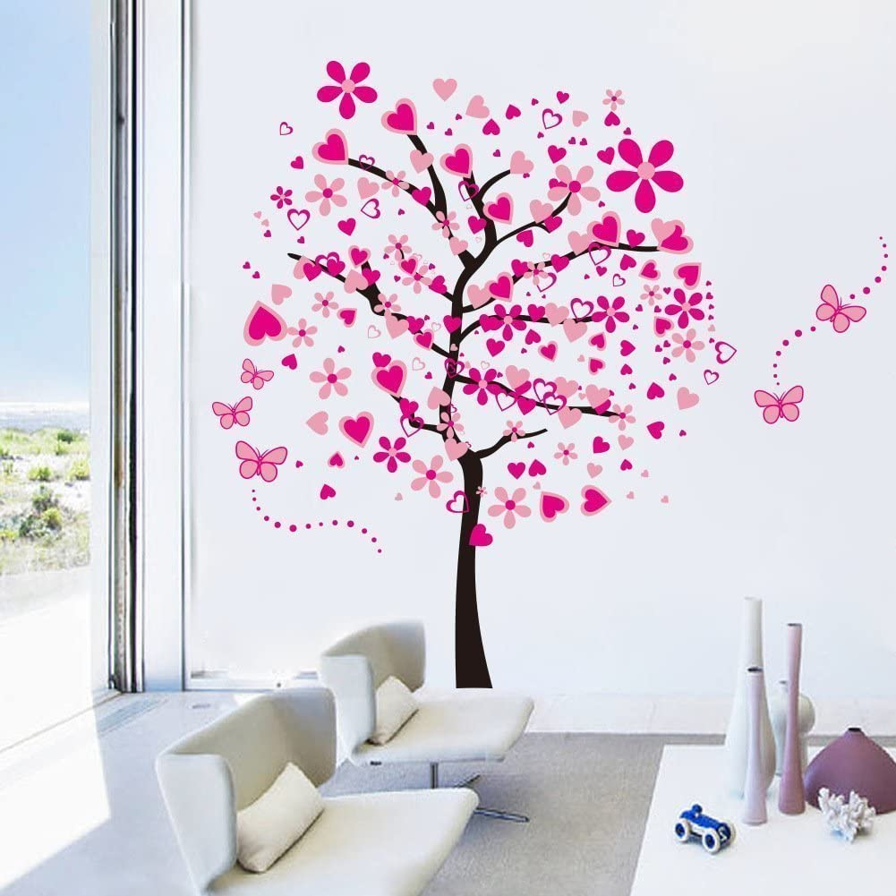 XY1096 Rainbow Fox Large Pink Sakura Flower Cherry Blossom Tree Wall Sticker Decals PVC Removable Wall Decal for Nursery Girls and Boys