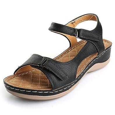 a3d234c6e9d4 Alexis Leroy Women s Buckle Strap Sandals Comfort Sole Open Toe Flat Shoes  Black 38 M EU