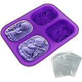 JPSOR Formatura del sapone a forma di angelo ovale in silicone, 100 sacchetti termoretraibili in regalo