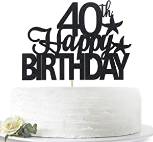 Glitter Black Happy 40th Birthday Cake Topper, Hello 40, Forty Years Old Party Sign Decorations