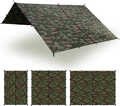 Aqua Quest Safari Tarp – 100% impermeable ligero silNylon refugio para acampar – 3x2, 3x3, 4x3, 6x4 oliva Drab o camuflaje