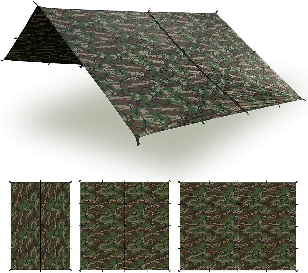 Aqua Quest Safari Tarp – 100 Waterproof Lightweight SilNylon Bushcraft Camping Shelter – 10×7, 10×10, 13×10, 20×13 Olive Drab or Camo
