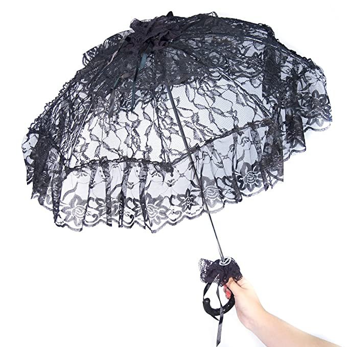 Vintage Style Parasols and Umbrellas Parasol with Lace Adornments 24 Inch Diameter $25.28 AT vintagedancer.com