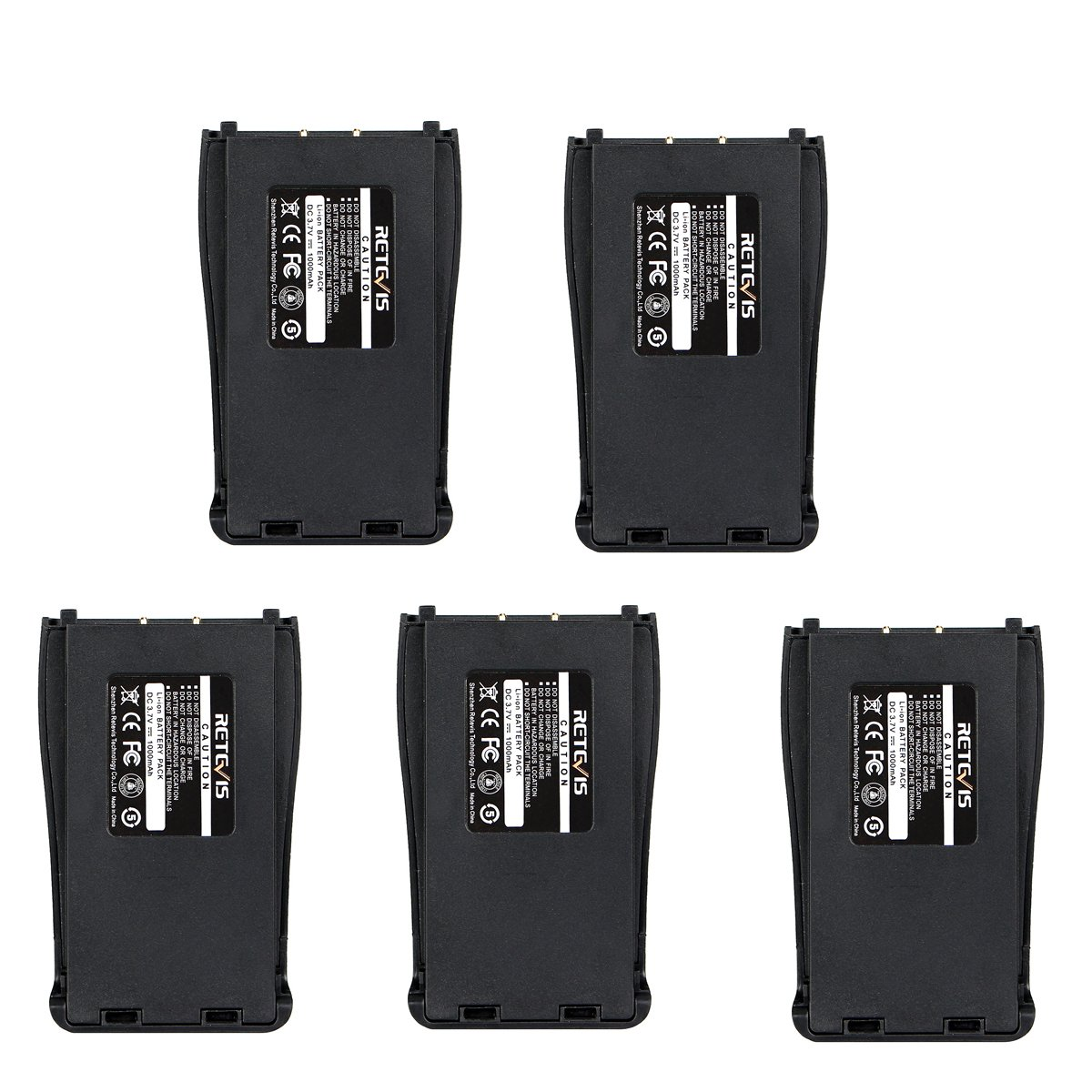 Retevis Two-Way Radio Battery 1000mAh Original Replacement Battery for Retevis H-777 Baofeng BF-888S Arcshell AR-5 Walkie Talkie (5 Pack)