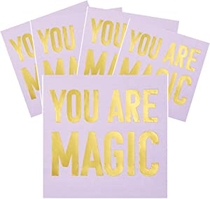 Pink Beverage Napkins, You Are Magic Bar Cart Accessory Cute Cocktail Napkins, 5 x 5 Inches, Pack of 40