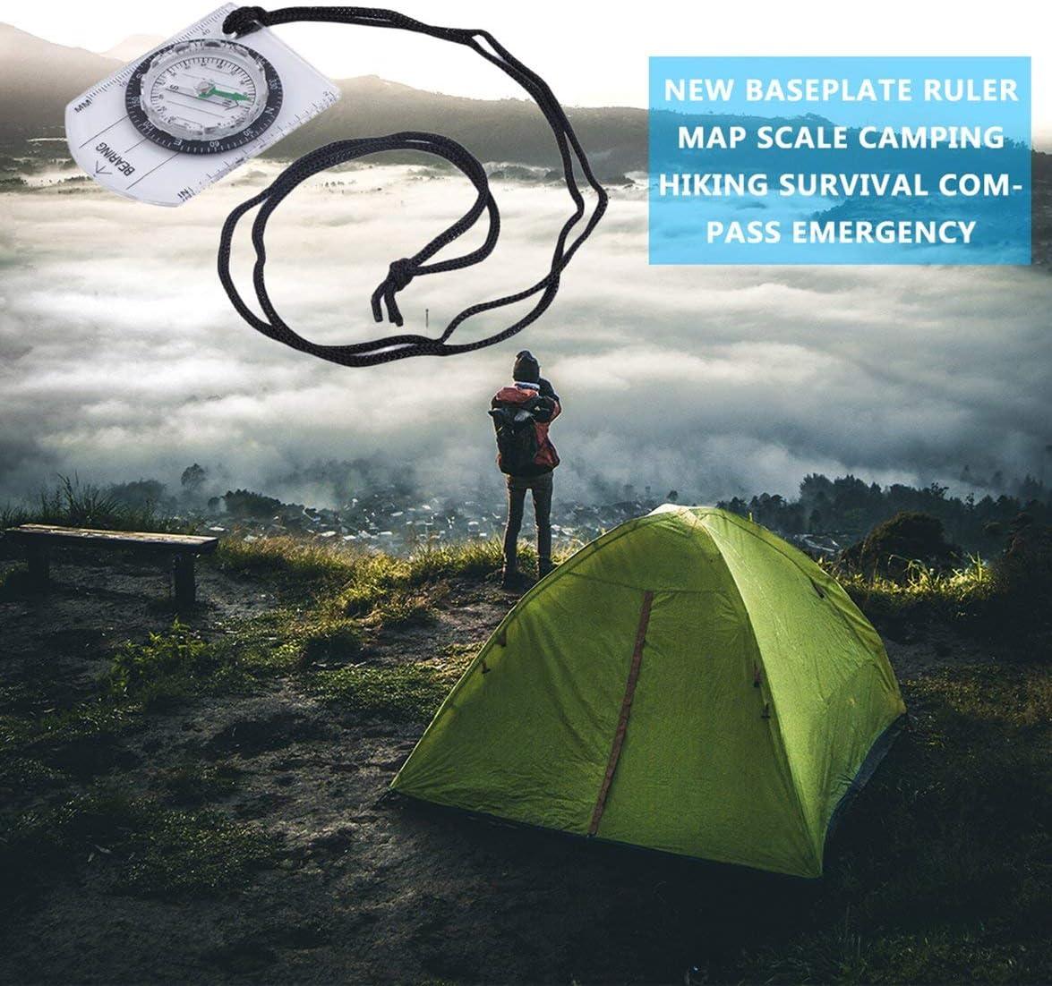 Sylvialuca Mini Plaque de Base Boussole Carte /échelle r/ègle Camping en Plein air randonn/ée Cyclisme Scouts Boussole Militaire