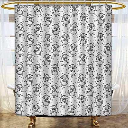 AngelShower Curtains FabricChristmas Angel Cute Winged Girl With Stars Heavenly Amusing Smiling