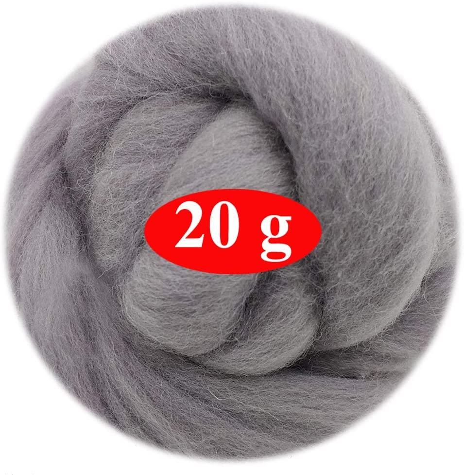 06 19 Micron for Needle Felting Wool Clean Flytex 20g 100/% Natural Wool Roving Best Wool for Needle Felting
