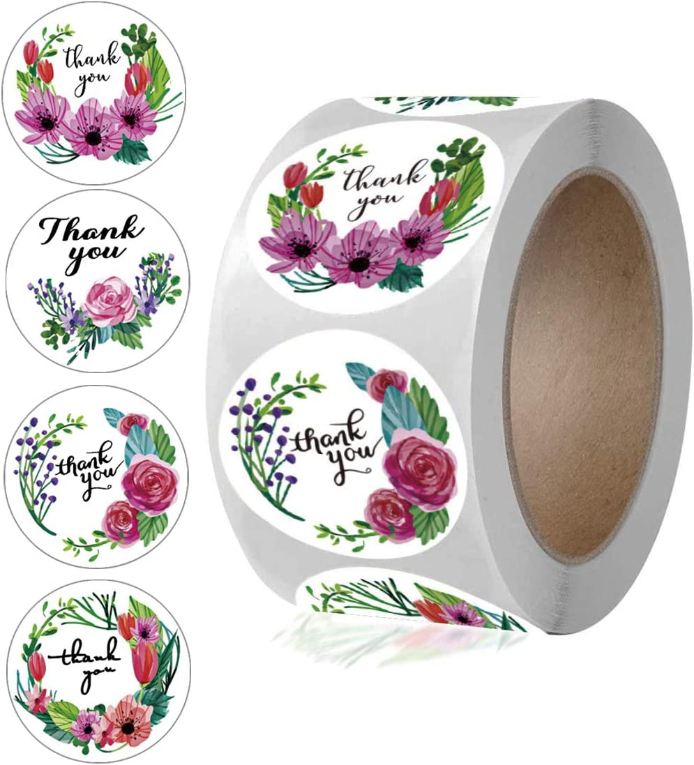 """1.5/"""" Assorted Floral Thank You Stickers Round Sealing Labels"""