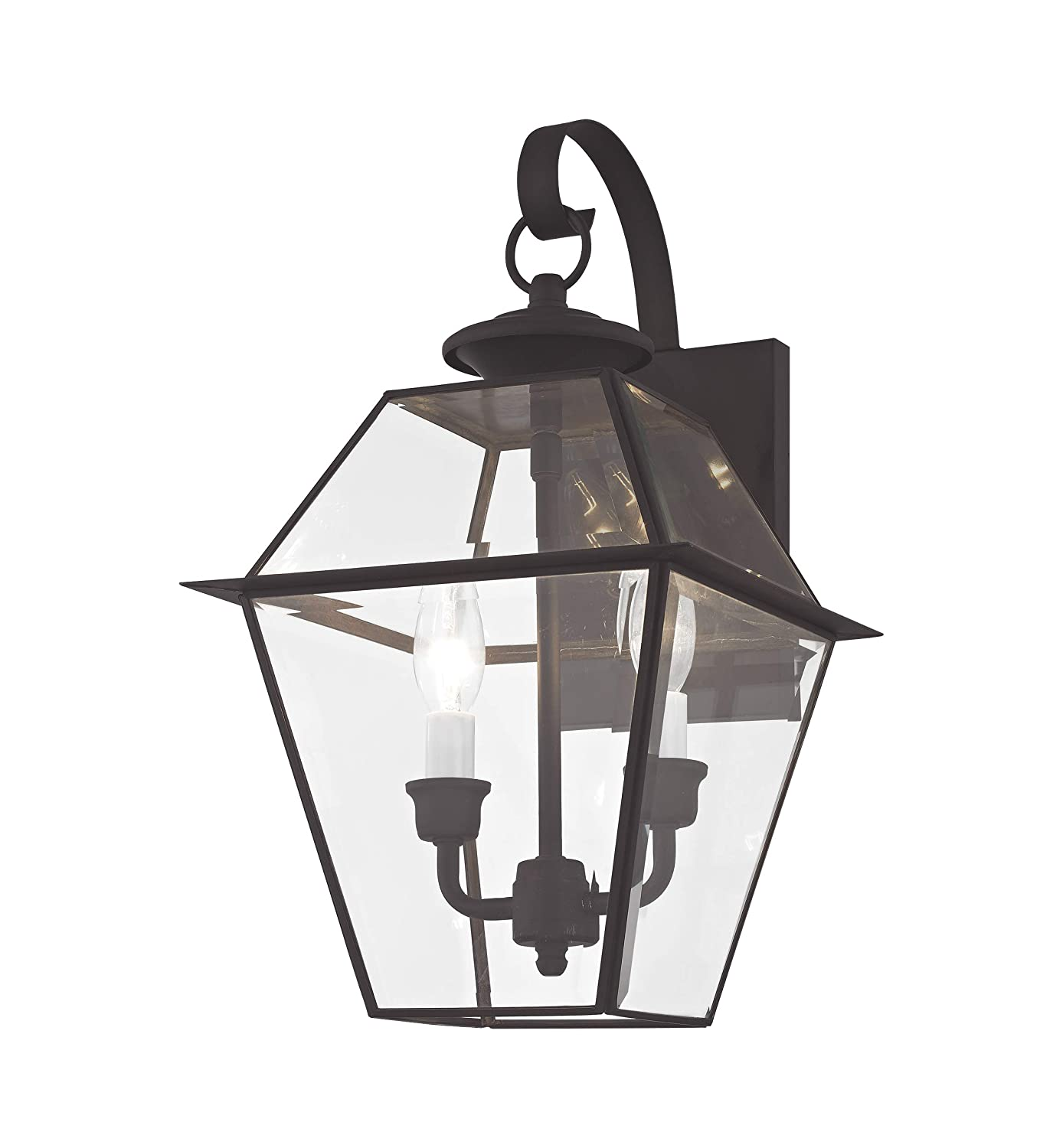 Livex Lighting 2281-04 Westover 2 Light Outdoor Black Finish Solid Brass Wall Lanternwith Clear Beveled Glass