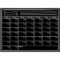 Magnetic Board for Fridge, Elisona Reusable Magnetic Dry Erase Calendar Weekly Monthly Planner Whiteboard Board for Refrigerator Home Kichen Office Fridge 40x30cm Black