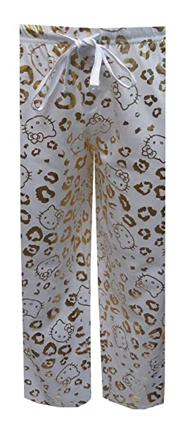 be57e17d1 Amazon.com: Hello Kitty Women's Gold Foil Leopard Capri Lounge Pants ...