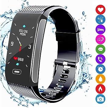 Monitores de Actividad, Smart Pulsera Fitness Tracker con Pulsometro de Muñeca Podómetro Resistente al Agua Alarma Monitor de Sueño Alerta por SMS ...