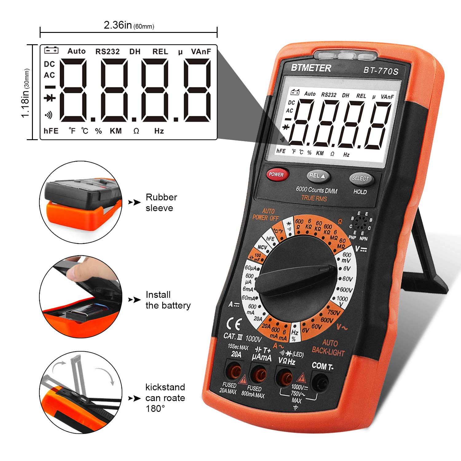 BTMETER BT-770S Multimeter Manual Ranging Electric Meter, for AC DC Volt Amp Ohm Capacitance Frequency with Continuity Tester, Auto Backlit for Automotive Hobbyist Electrical Home