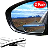 Blind Spot Mirror Square LIBERRWAY Wide Angle Mirror Adjustable Convex Rear View Mirror 360°Rotate for All Universal Vehicles Car Stick on Design 2 Pack