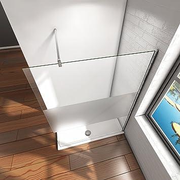 Pantalla Panel Fijo Cristal 8mm vidrio esmerilado Mate Parcial Mampara de Ducha Antical Barra 140cm - 100x200cm: Amazon.es: Bricolaje y herramientas